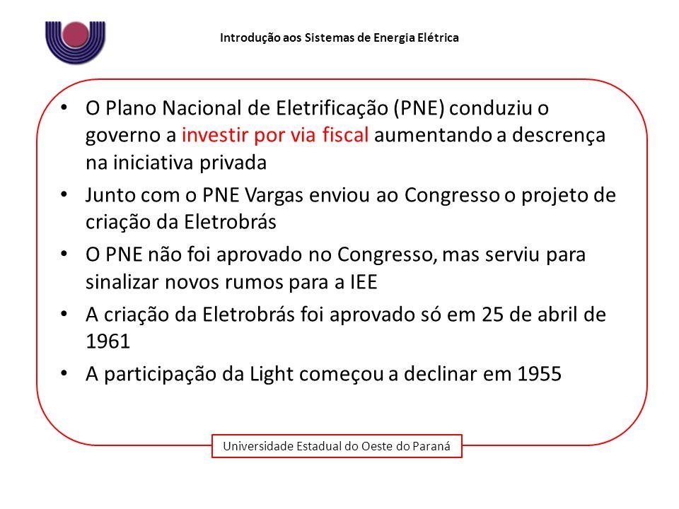 Universidade Estadual do Oeste do Paraná Introdução aos Sistemas de Energia Elétrica O Plano Nacional de Eletrificação (PNE) conduziu o governo a inve