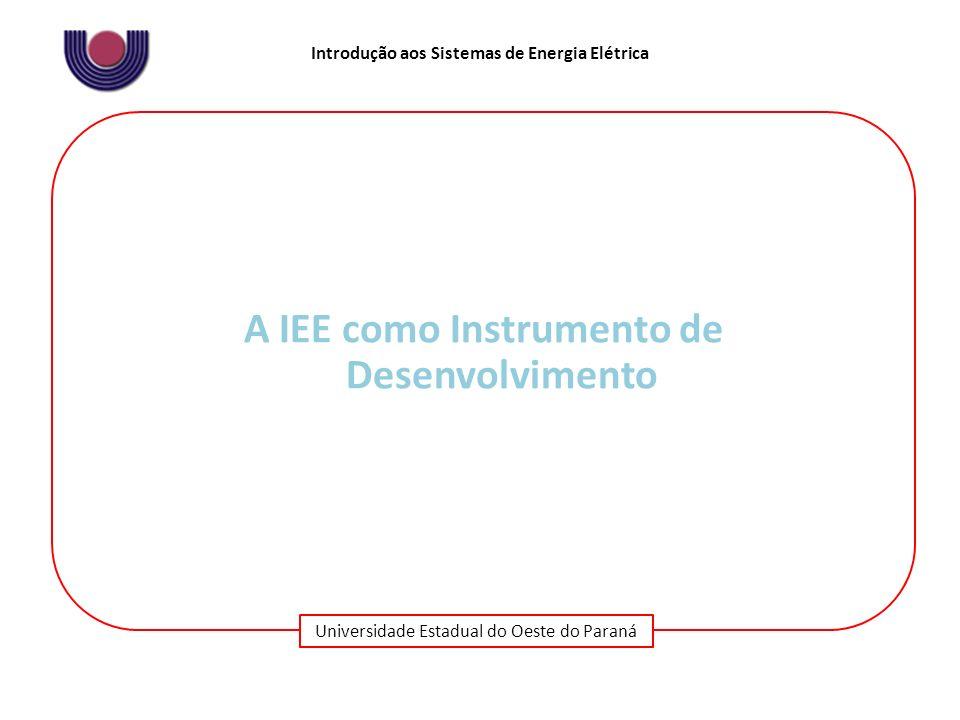 Universidade Estadual do Oeste do Paraná Introdução aos Sistemas de Energia Elétrica A IEE como Instrumento de Desenvolvimento