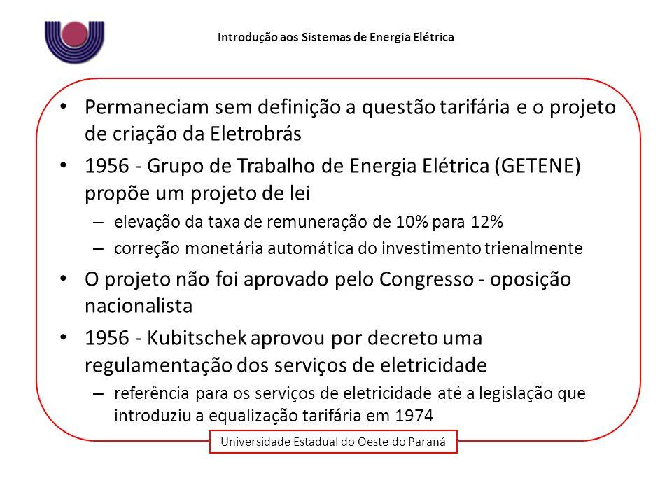 Universidade Estadual do Oeste do Paraná Introdução aos Sistemas de Energia Elétrica Permaneciam sem definição a questão tarifária e o projeto de cria