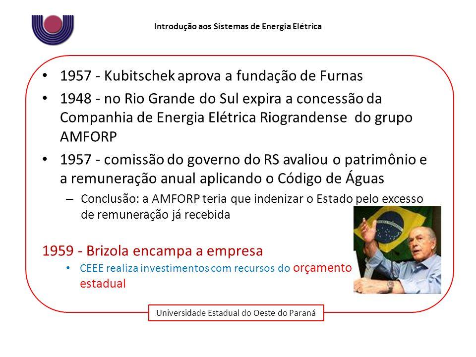Universidade Estadual do Oeste do Paraná Introdução aos Sistemas de Energia Elétrica 1957 - Kubitschek aprova a fundação de Furnas 1948 - no Rio Grand