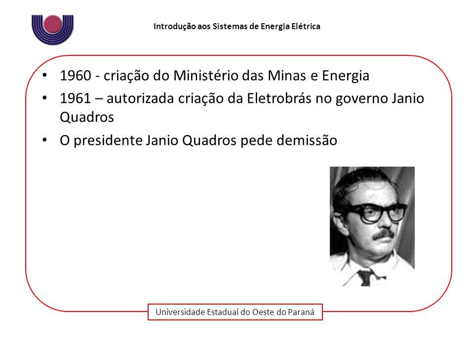 Universidade Estadual do Oeste do Paraná Introdução aos Sistemas de Energia Elétrica 1960 - criação do Ministério das Minas e Energia 1961 – autorizad