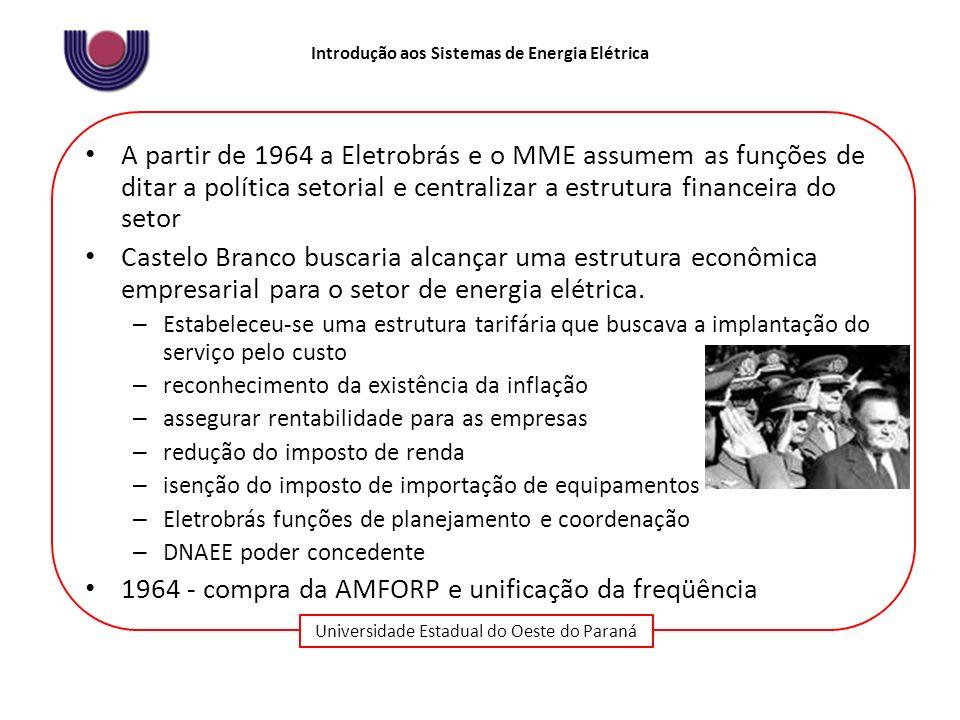 Universidade Estadual do Oeste do Paraná Introdução aos Sistemas de Energia Elétrica A partir de 1964 a Eletrobrás e o MME assumem as funções de ditar