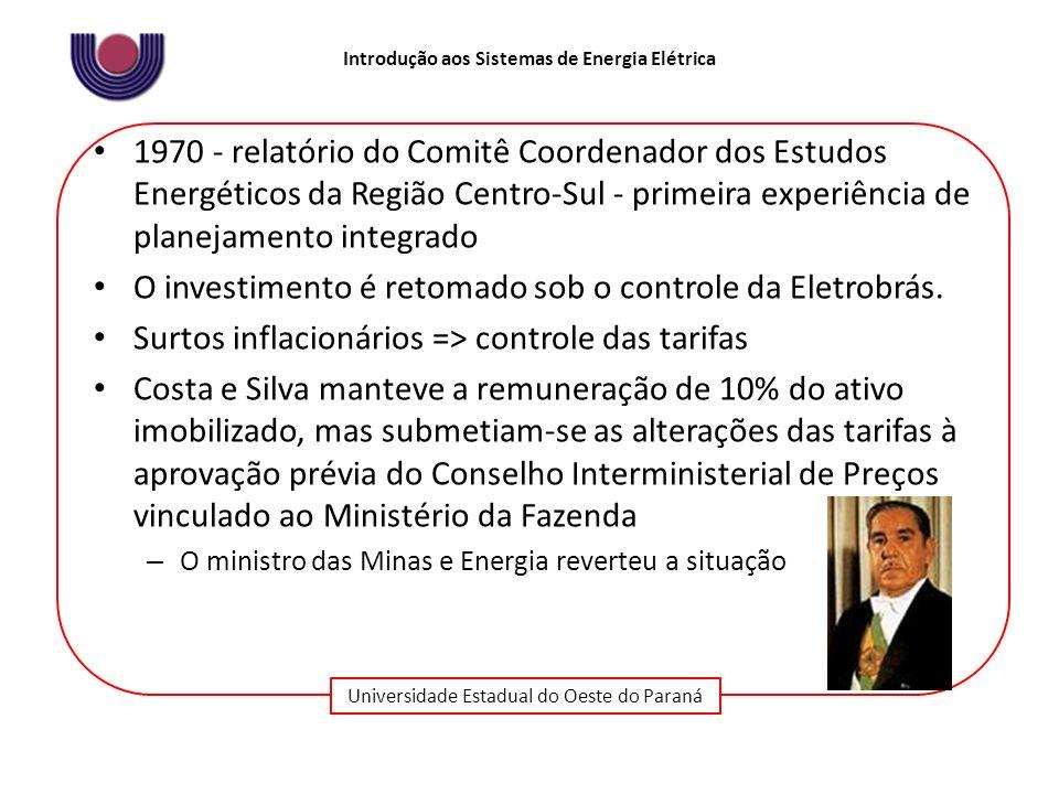 Universidade Estadual do Oeste do Paraná Introdução aos Sistemas de Energia Elétrica 1970 - relatório do Comitê Coordenador dos Estudos Energéticos da