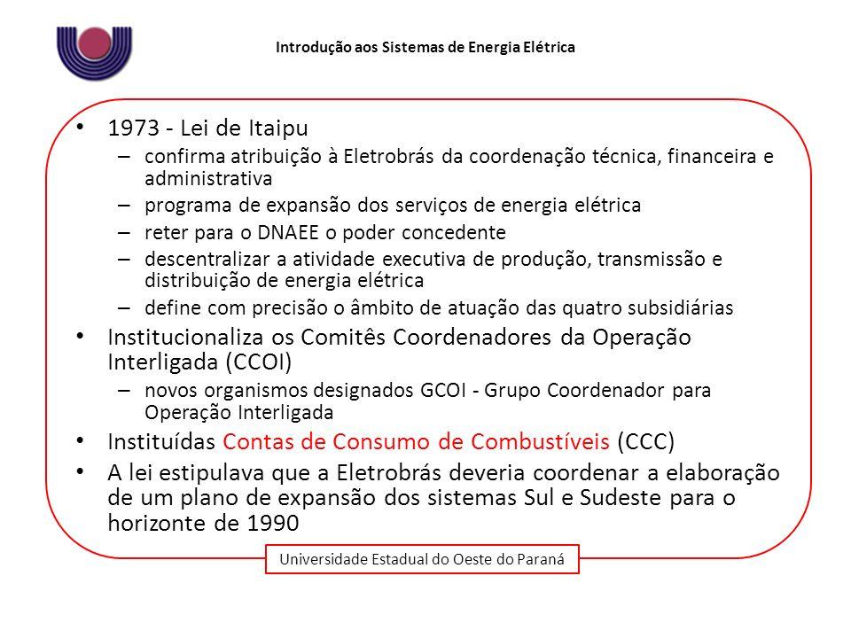 Universidade Estadual do Oeste do Paraná Introdução aos Sistemas de Energia Elétrica 1973 - Lei de Itaipu – confirma atribuição à Eletrobrás da coorde