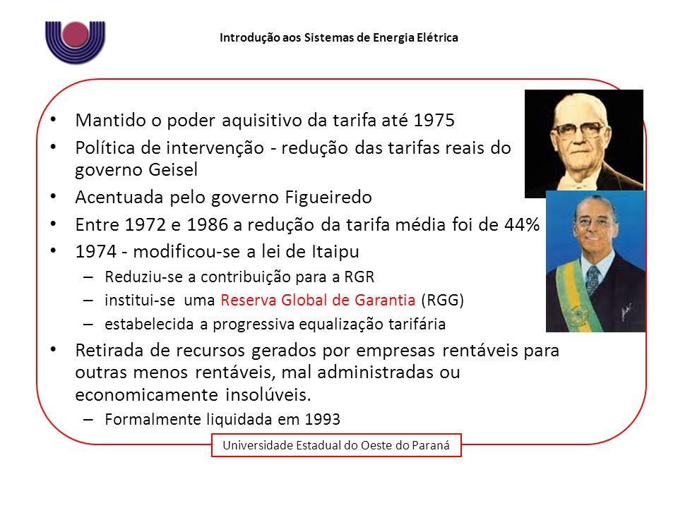 Universidade Estadual do Oeste do Paraná Introdução aos Sistemas de Energia Elétrica Mantido o poder aquisitivo da tarifa até 1975 Política de interve