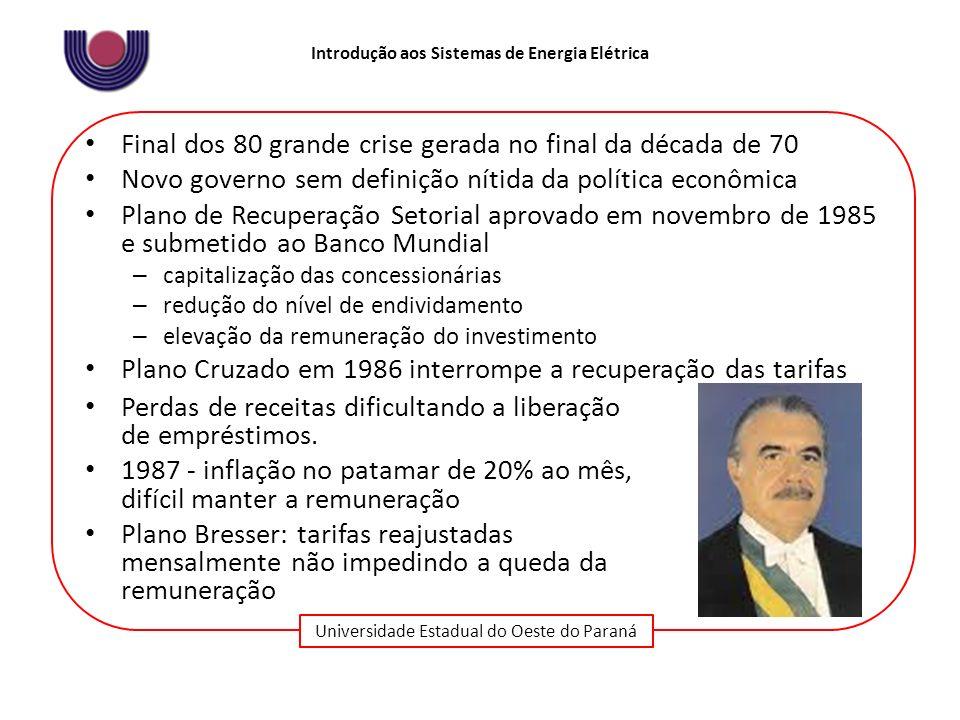 Universidade Estadual do Oeste do Paraná Introdução aos Sistemas de Energia Elétrica Final dos 80 grande crise gerada no final da década de 70 Novo go