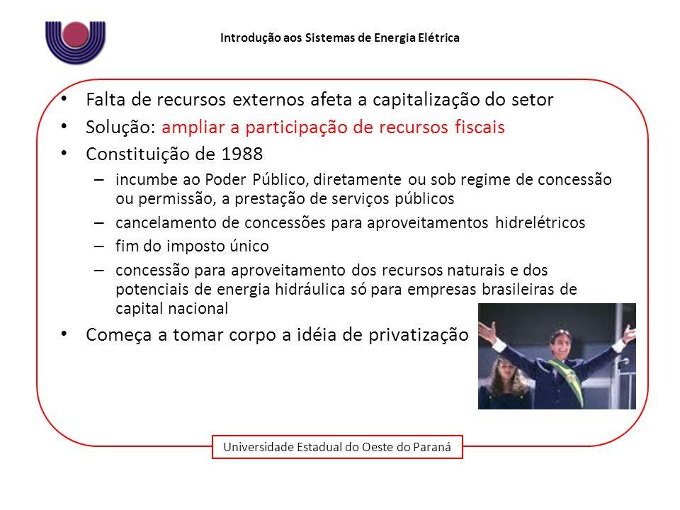 Universidade Estadual do Oeste do Paraná Introdução aos Sistemas de Energia Elétrica Falta de recursos externos afeta a capitalização do setor Solução