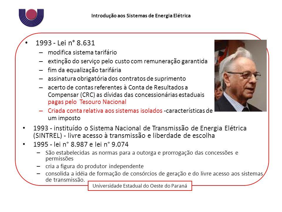 Universidade Estadual do Oeste do Paraná Introdução aos Sistemas de Energia Elétrica 1993 - Lei n° 8.631 – modifica sistema tarifário – extinção do se