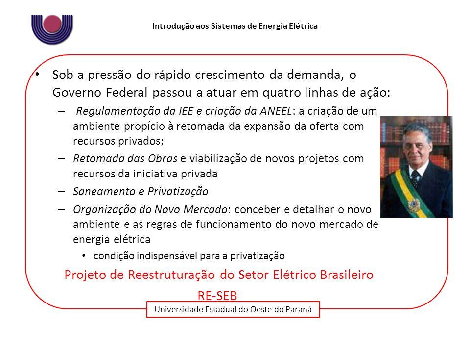 Universidade Estadual do Oeste do Paraná Introdução aos Sistemas de Energia Elétrica Sob a pressão do rápido crescimento da demanda, o Governo Federal