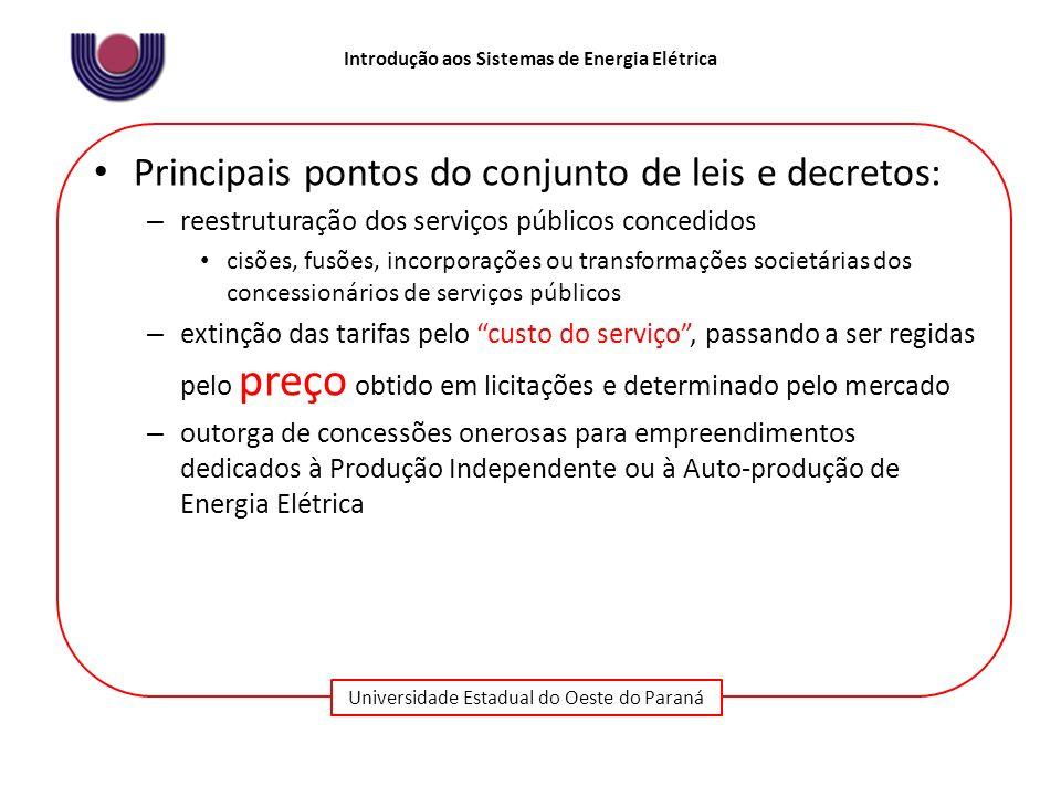 Universidade Estadual do Oeste do Paraná Introdução aos Sistemas de Energia Elétrica Principais pontos do conjunto de leis e decretos: – reestruturaçã