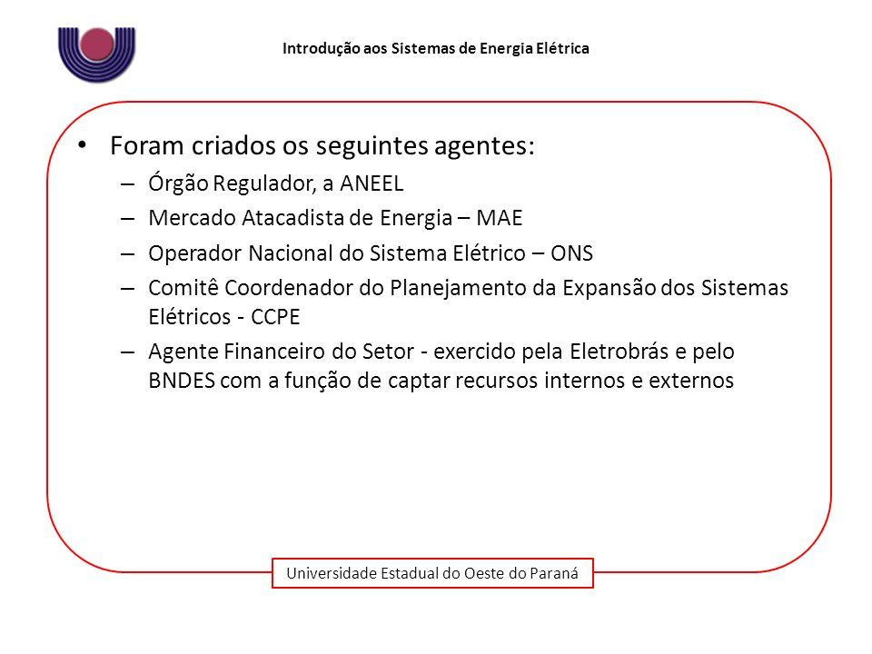 Universidade Estadual do Oeste do Paraná Introdução aos Sistemas de Energia Elétrica Foram criados os seguintes agentes: – Órgão Regulador, a ANEEL –