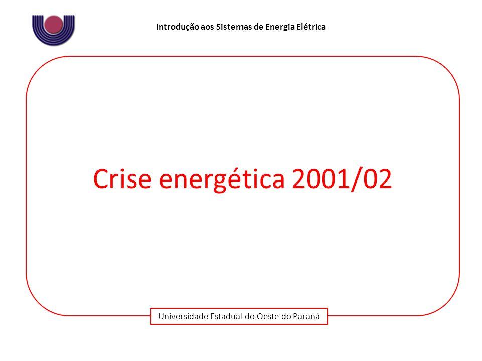 Universidade Estadual do Oeste do Paraná Introdução aos Sistemas de Energia Elétrica Crise energética 2001/02