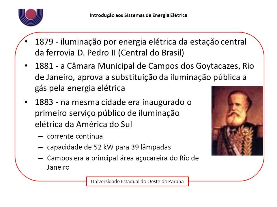 Universidade Estadual do Oeste do Paraná Introdução aos Sistemas de Energia Elétrica 1883 – instalada uma hidrelétrica no Ribeirão do Inferno (MG) para suprir uma mineradora Essa modernidade não se estende às relações sociais, marcadas pela existência da escravidão, que só será abolida em 1888