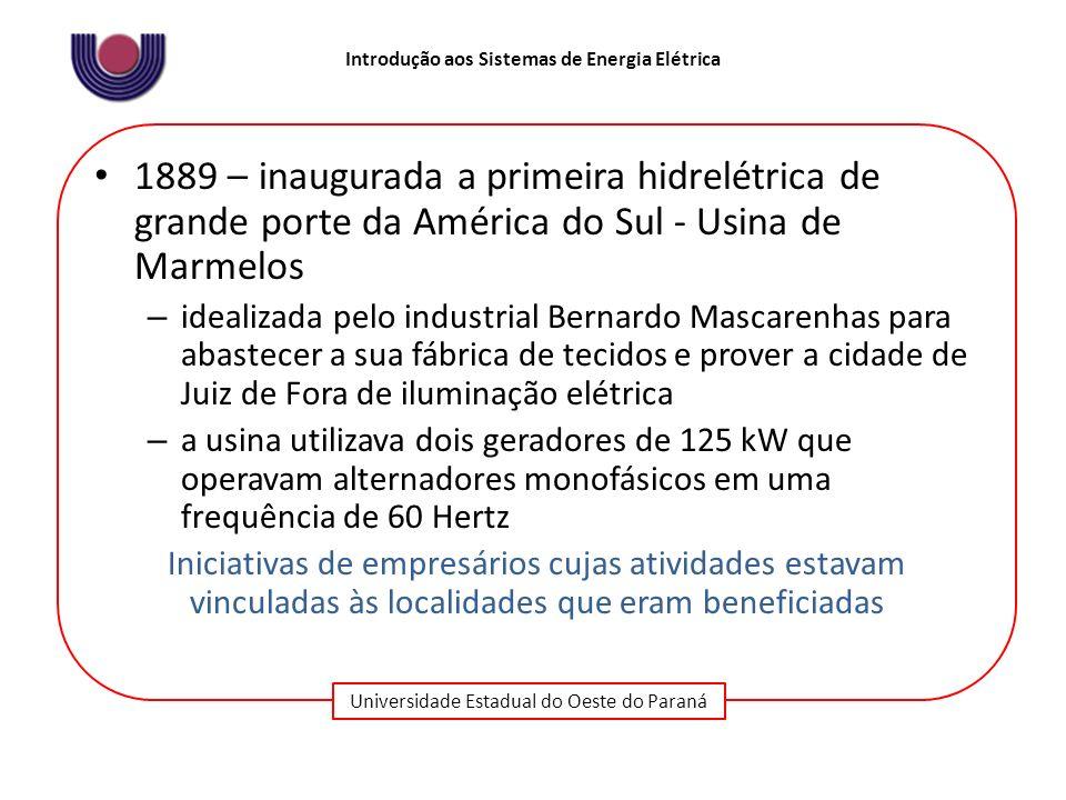 Universidade Estadual do Oeste do Paraná Introdução aos Sistemas de Energia Elétrica Principais características das experiências iniciais no Brasil: A.Iniciativa privada B.Caráter local C.Inexistência de padrões técnico, organizacional e institucional D.Inexistência de uma indústria elétrica