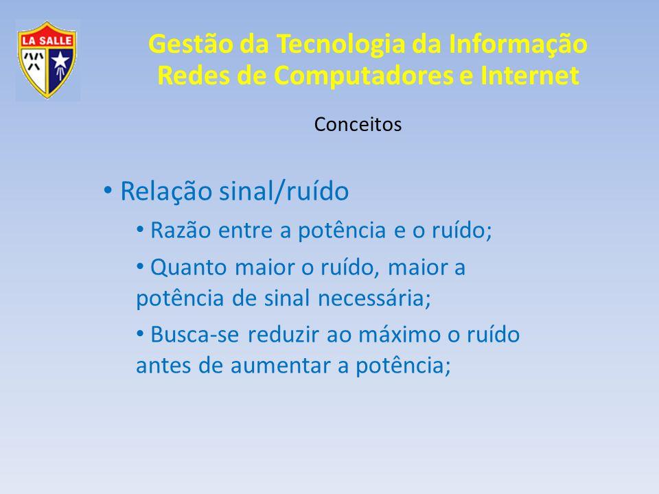 Gestão da Tecnologia da Informação Redes de Computadores e Internet Conceitos Relação sinal/ruído Razão entre a potência e o ruído; Quanto maior o ruí
