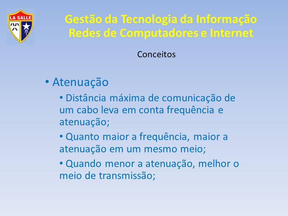 Gestão da Tecnologia da Informação Redes de Computadores e Internet Conceitos Atenuação Distância máxima de comunicação de um cabo leva em conta frequ