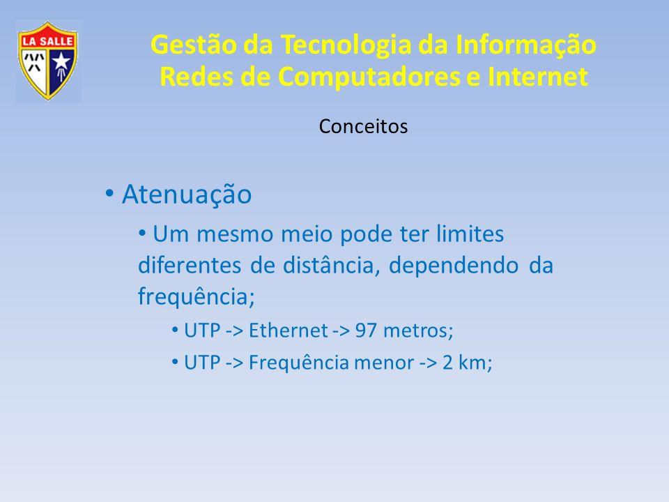 Gestão da Tecnologia da Informação Redes de Computadores e Internet Conceitos Atenuação Um mesmo meio pode ter limites diferentes de distância, depend
