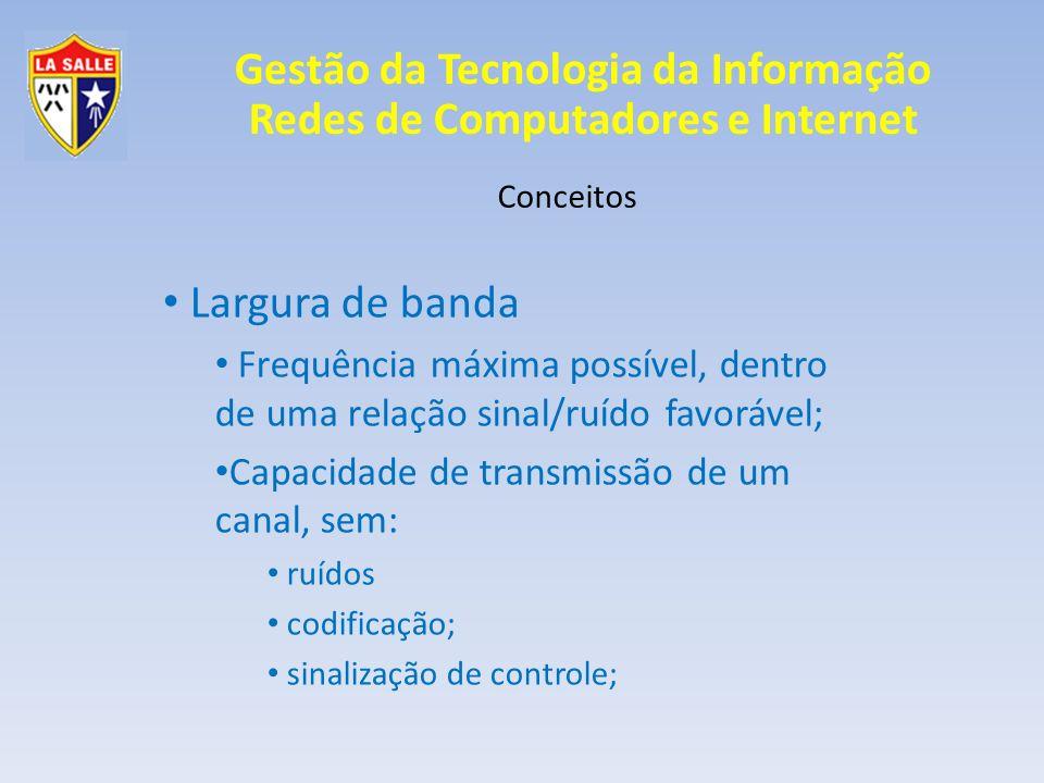 Gestão da Tecnologia da Informação Redes de Computadores e Internet Conceitos Largura de banda Frequência máxima possível, dentro de uma relação sinal