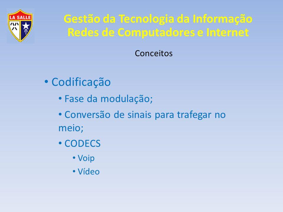 Gestão da Tecnologia da Informação Redes de Computadores e Internet Conceitos Codificação Fase da modulação; Conversão de sinais para trafegar no meio