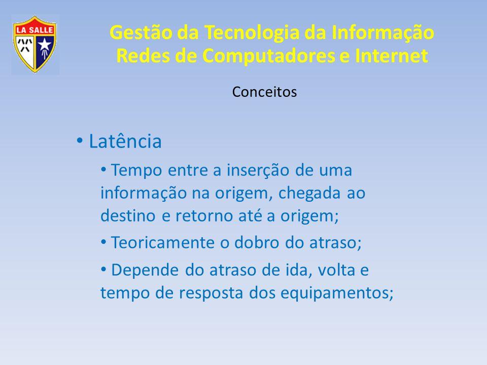 Gestão da Tecnologia da Informação Redes de Computadores e Internet Conceitos Latência Tempo entre a inserção de uma informação na origem, chegada ao