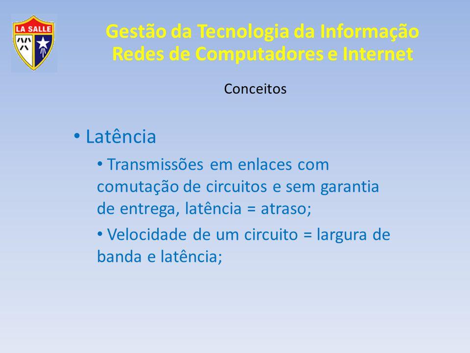 Gestão da Tecnologia da Informação Redes de Computadores e Internet Conceitos Latência Transmissões em enlaces com comutação de circuitos e sem garant