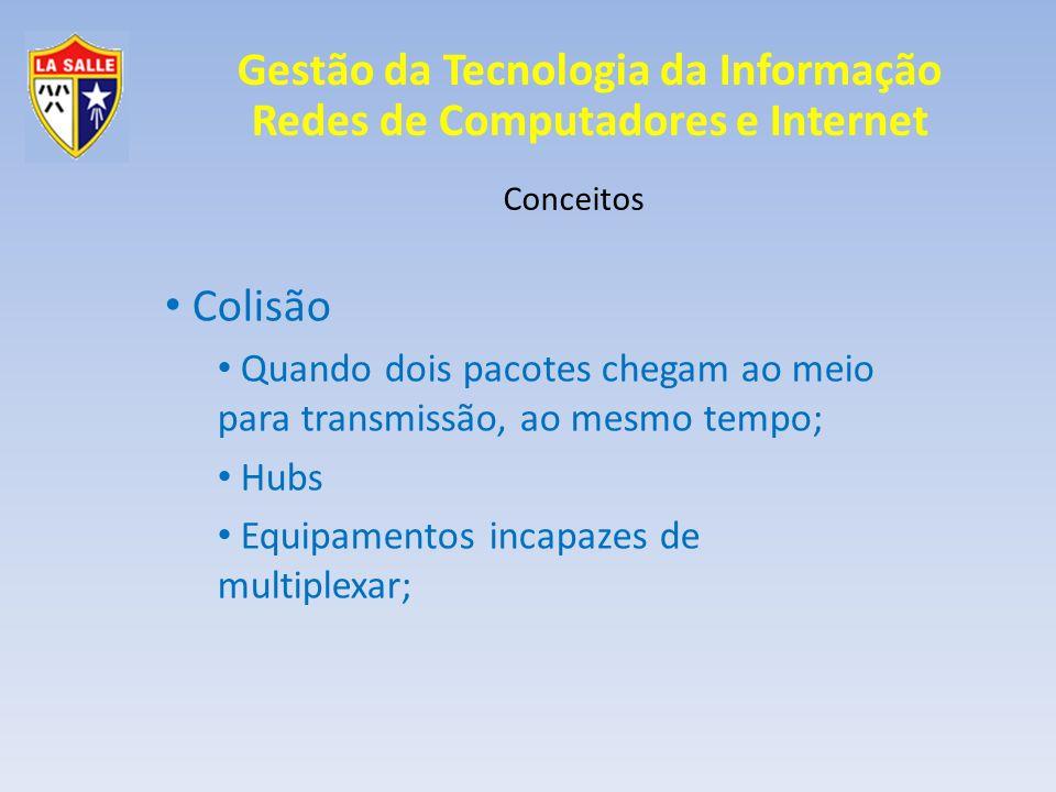 Gestão da Tecnologia da Informação Redes de Computadores e Internet Conceitos Colisão Quando dois pacotes chegam ao meio para transmissão, ao mesmo te