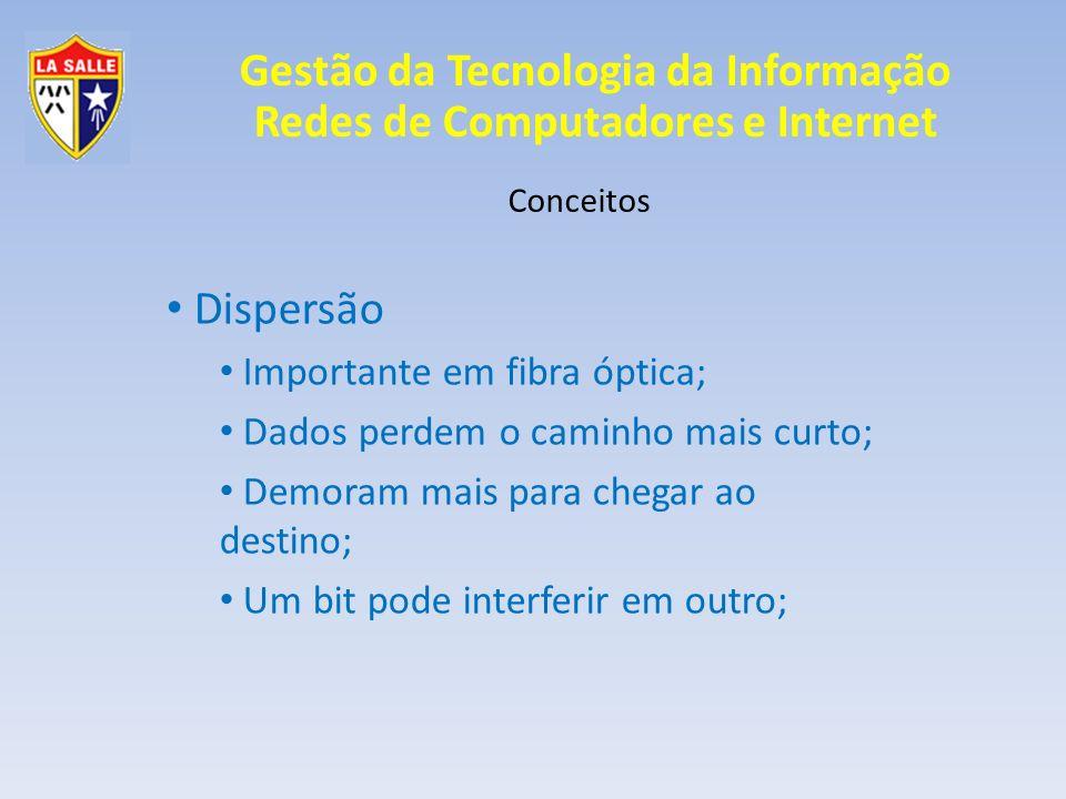 Gestão da Tecnologia da Informação Redes de Computadores e Internet Conceitos Dispersão Importante em fibra óptica; Dados perdem o caminho mais curto;