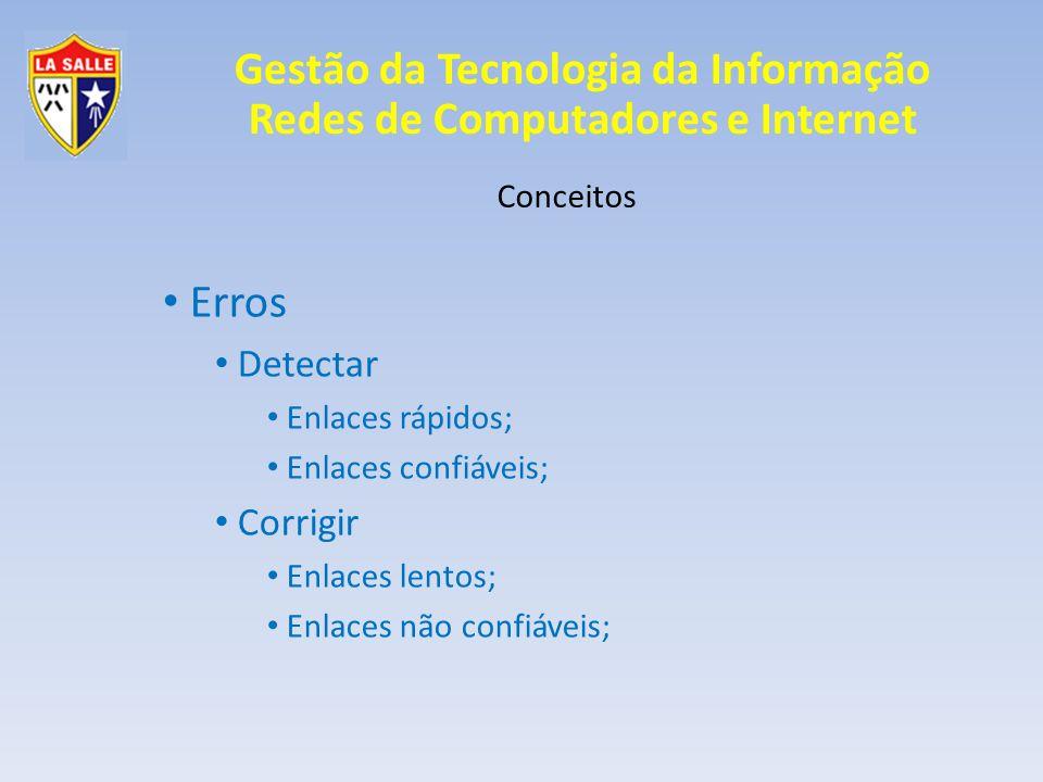 Gestão da Tecnologia da Informação Redes de Computadores e Internet Conceitos Erros Detectar Enlaces rápidos; Enlaces confiáveis; Corrigir Enlaces len