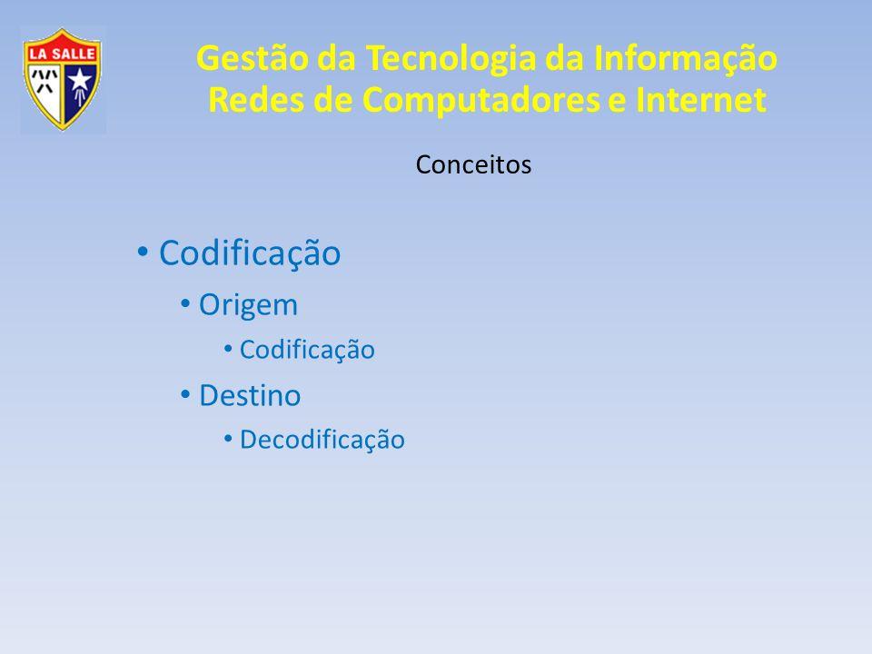 Gestão da Tecnologia da Informação Redes de Computadores e Internet Conceitos Atenuação Um mesmo meio pode ter limites diferentes de distância, dependendo da frequência; UTP -> Ethernet -> 97 metros; UTP -> Frequência menor -> 2 km;