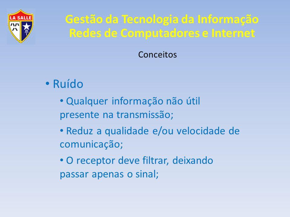 Gestão da Tecnologia da Informação Redes de Computadores e Internet Conceitos Ruído Crosstalk Sinais interferem em outros (fios, contatos); Blindagem; Trançamento; Distanciamento;
