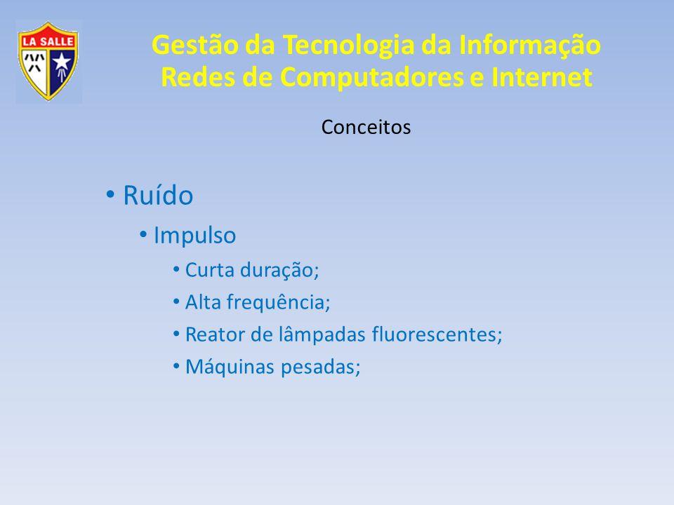 Gestão da Tecnologia da Informação Redes de Computadores e Internet Conceitos Eco Repetição enviada para a origem de um determinado sinal; Eco prejudicial e benéfico;