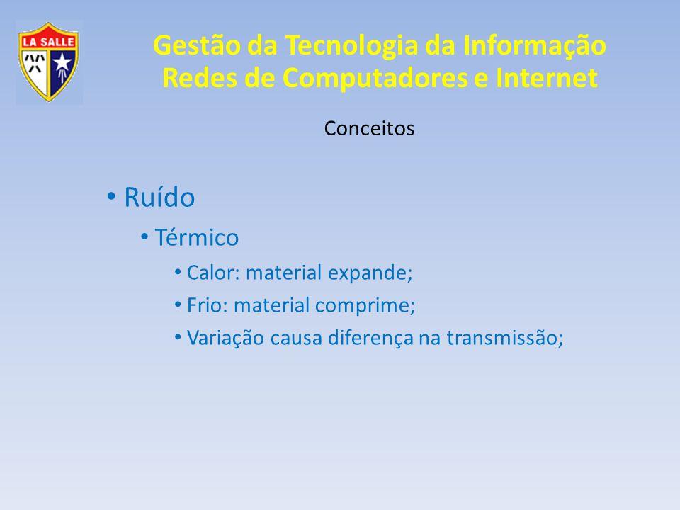 Gestão da Tecnologia da Informação Redes de Computadores e Internet Conceitos Ruído Térmico Calor: material expande; Frio: material comprime; Variação
