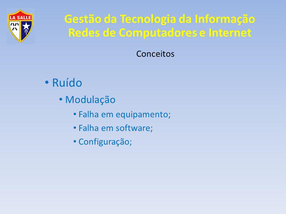 Gestão da Tecnologia da Informação Redes de Computadores e Internet Conceitos Ruído Modulação Falha em equipamento; Falha em software; Configuração;