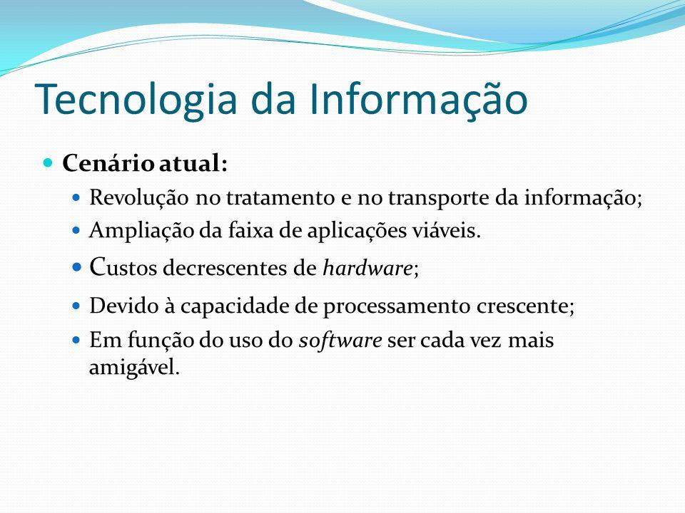 Tecnologia da Informação Cenário atual: Revolução no tratamento e no transporte da informação; Ampliação da faixa de aplicações viáveis. C ustos decre