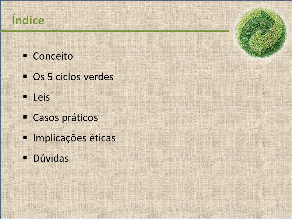 Índice Conceito Os 5 ciclos verdes Leis Casos práticos Implicações éticas Dúvidas