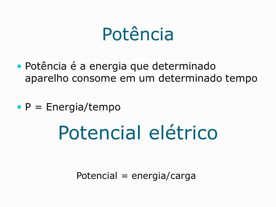 Potência Potência é a energia que determinado aparelho consome em um determinado tempo P = Energia/tempo Potencial elétrico Potencial = energia/carga