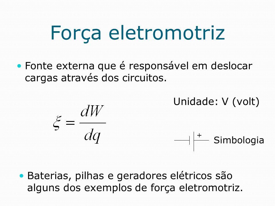 Força eletromotriz Fonte externa que é responsável em deslocar cargas através dos circuitos. Unidade: V (volt) Baterias, pilhas e geradores elétricos