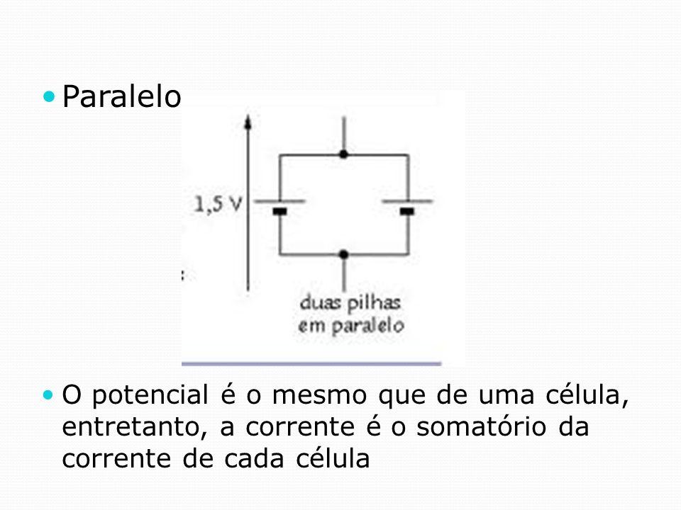 Paralelo O potencial é o mesmo que de uma célula, entretanto, a corrente é o somatório da corrente de cada célula