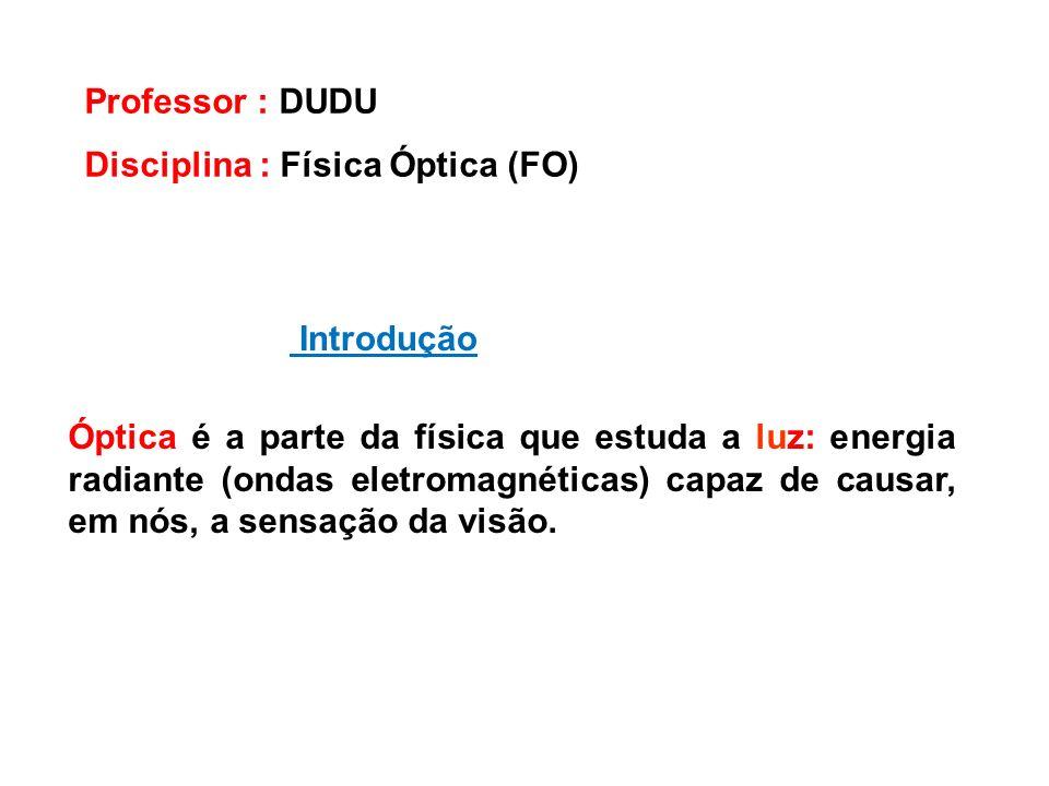 Introdução Professor : DUDU Disciplina : Física Óptica (FO) Óptica é a parte da física que estuda a luz: energia radiante (ondas eletromagnéticas) cap