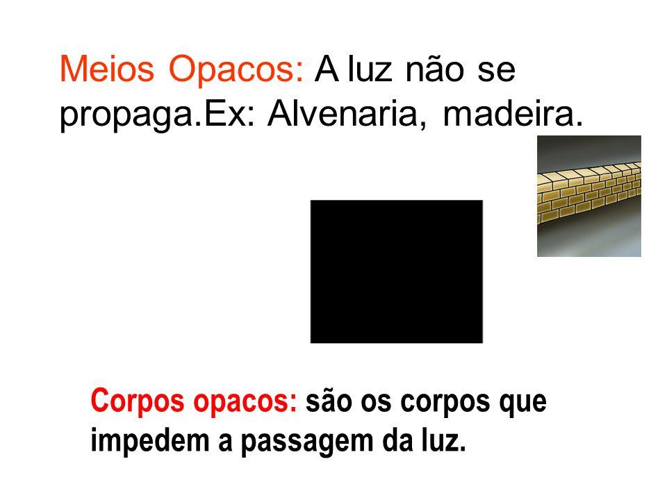 Corpos opacos: são os corpos que impedem a passagem da luz. Meios Opacos: A luz não se propaga.Ex: Alvenaria, madeira.