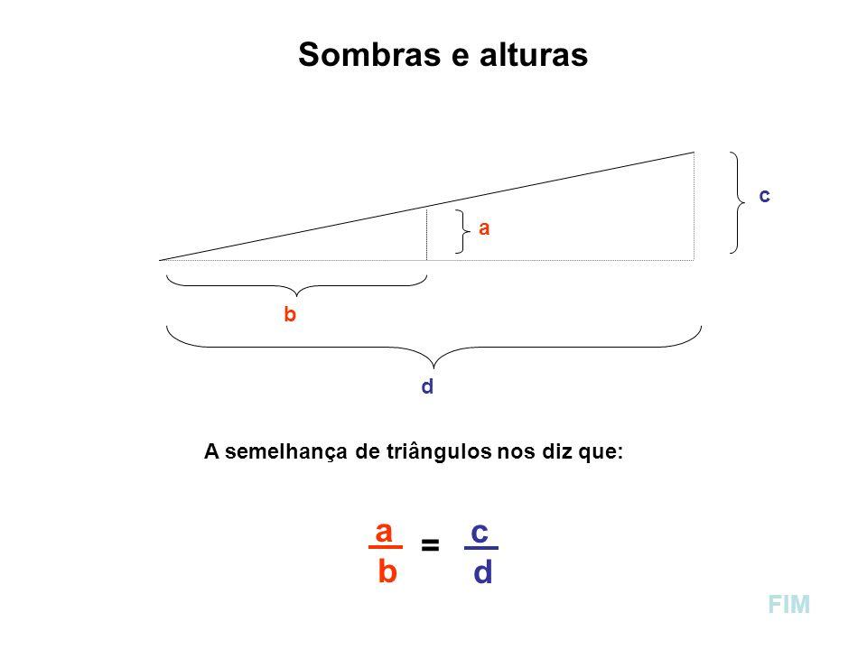 Sombras e alturas a c b d A semelhança de triângulos nos diz que: a b a b = c d FIM