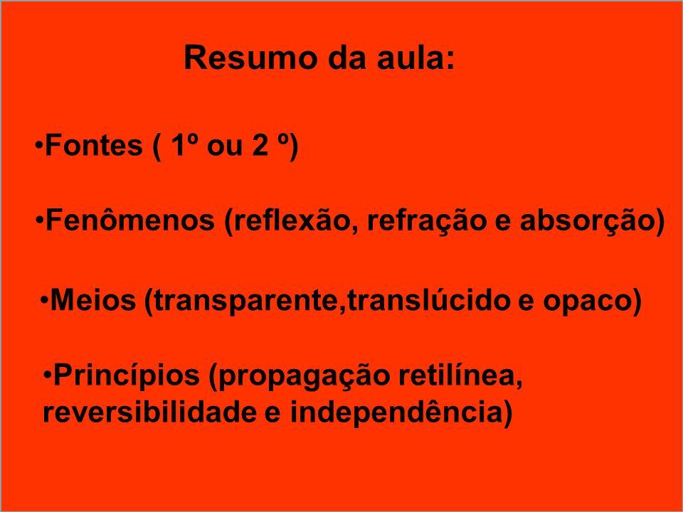 Fenômenos (reflexão, refração e absorção) Resumo da aula: Fontes ( 1º ou 2 º) Princípios (propagação retilínea, reversibilidade e independência) Meios
