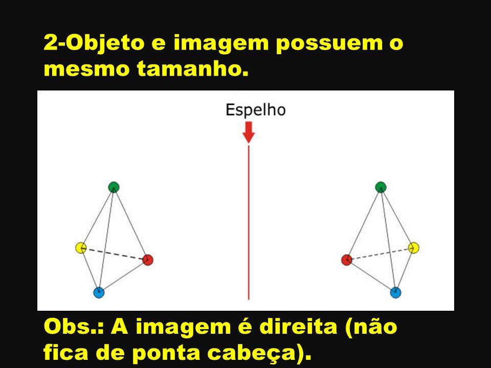 A B C A B C 2-Objeto e imagem possuem o mesmo tamanho. Obs.: A imagem é direita (não fica de ponta cabeça).