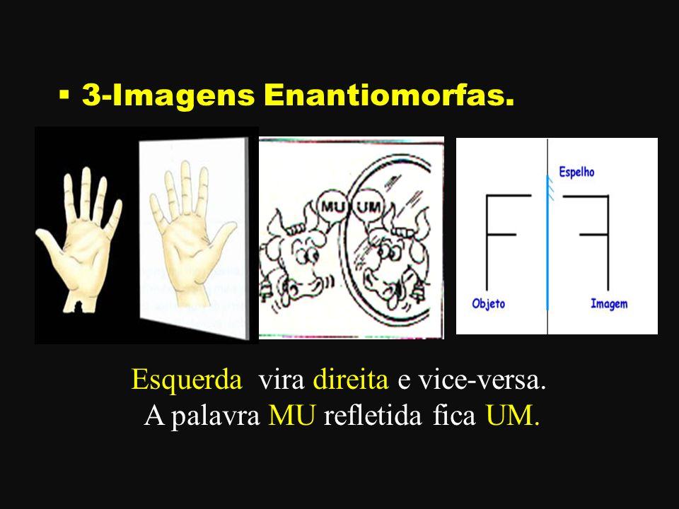 3-Imagens Enantiomorfas. Esquerda vira direita e vice-versa. A palavra MU refletida fica UM.