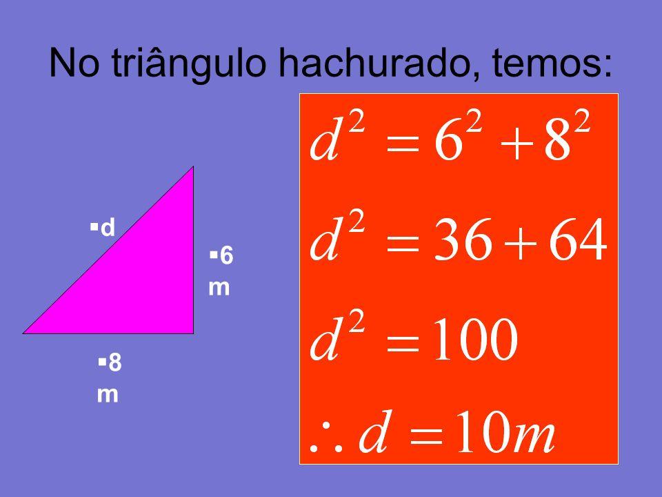 No triângulo hachurado, temos: 6 m 8 m d