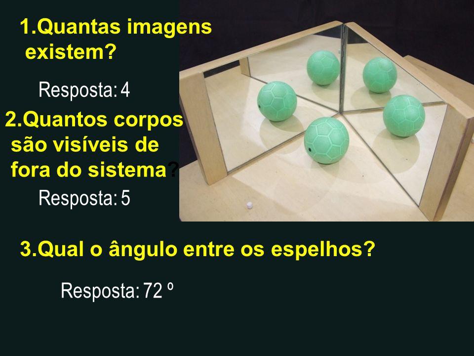 1.Quantas imagens existem? Resposta: 4 2.Quantos corpos são visíveis de fora do sistema? Resposta: 5 3.Qual o ângulo entre os espelhos? Resposta: 72 º