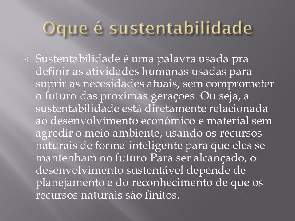 Sustentabilidade é uma palavra usada pra definir as atividades humanas usadas para suprir as necesidades atuais, sem comprometer o futuro das proximas