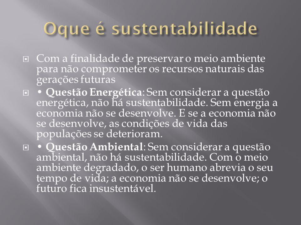 Com a finalidade de preservar o meio ambiente para não comprometer os recursos naturais das gerações futuras Questão Energética : Sem considerar a que