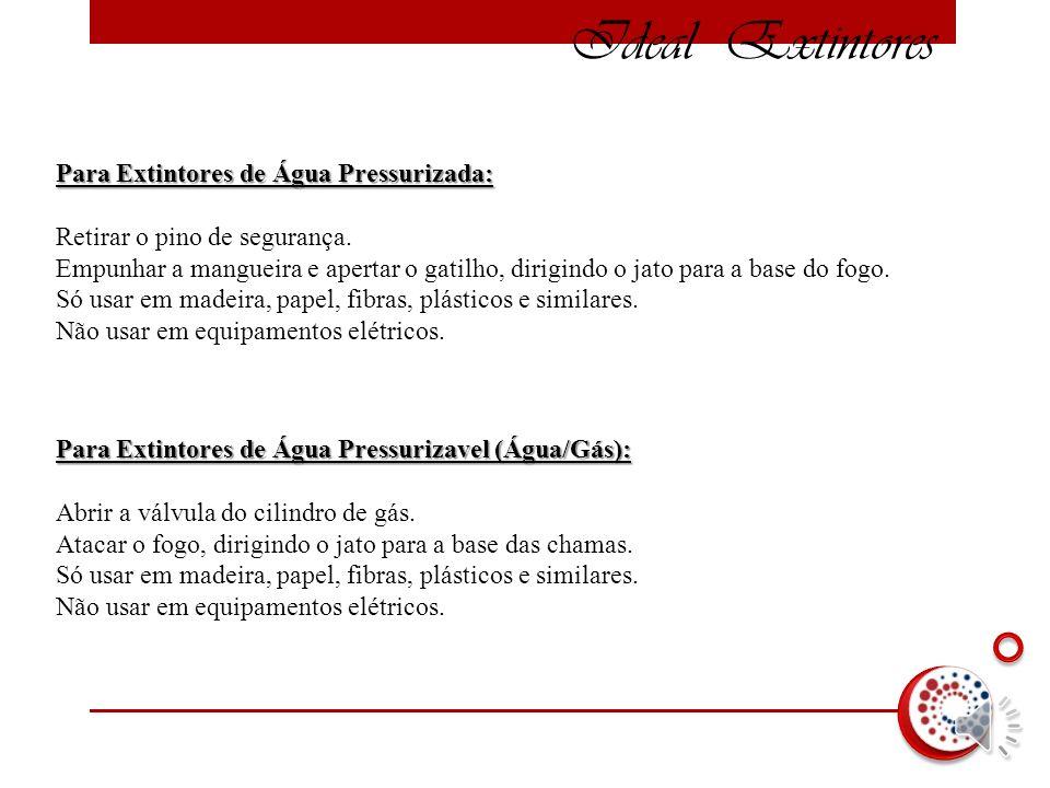 Ideal Extintores Para Extintores de Água Pressurizada: Para Extintores de Água Pressurizada: Retirar o pino de segurança.