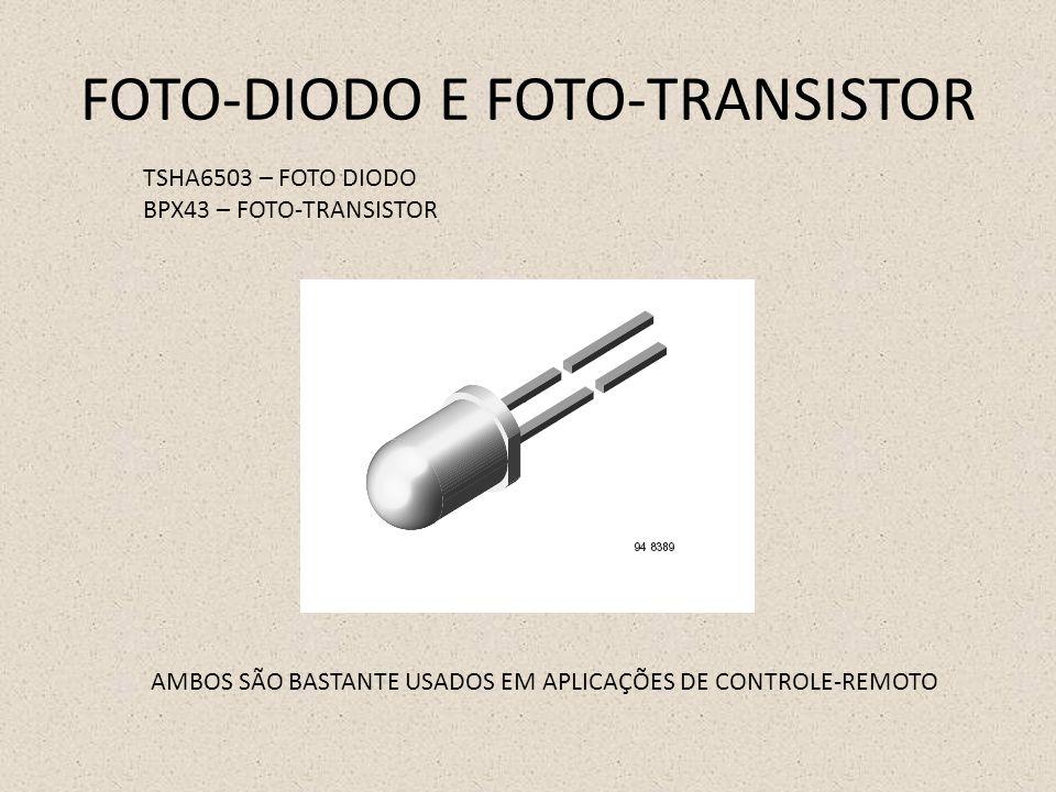 FOTO-DIODO E FOTO-TRANSISTOR TSHA6503 – FOTO DIODO BPX43 – FOTO-TRANSISTOR AMBOS SÃO BASTANTE USADOS EM APLICAÇÕES DE CONTROLE-REMOTO